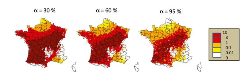 Propagation potentielle en 2020 avec différentes intensités de contrôle (alpha = 0,3 (30%), 0,6 (60%) et 0,95 (95%). Le dégradé de couleurs exprime les différences de densité de population de frelons asiatiques estimée par le nombre de nids.